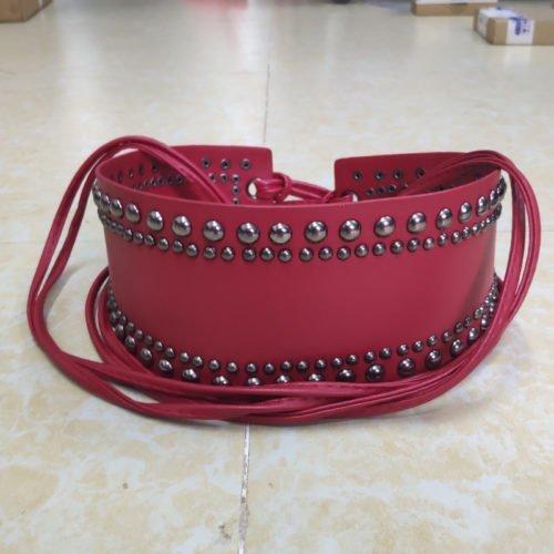 Fashion design beaded red PU leather dress belt