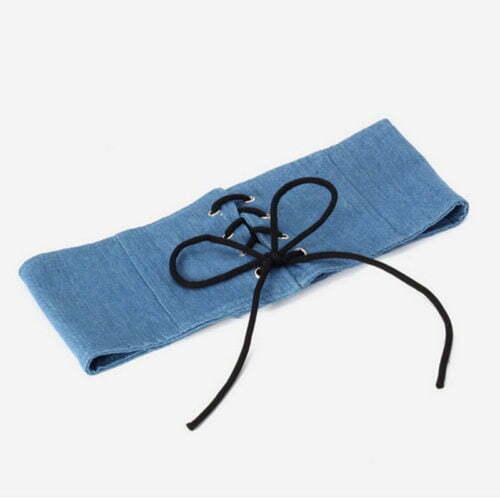 New fashion design eyelets blue canvas belt