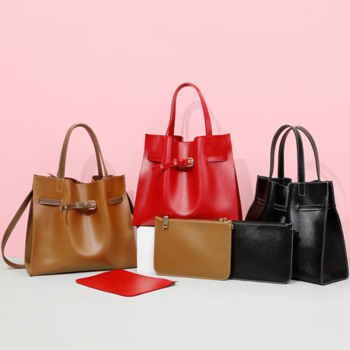 Famous brand large leather female tote bags with purse