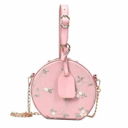 Korean design embroidery leather ladies pink bag