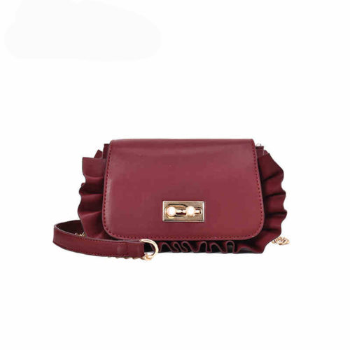 UN19108 500x500 - Small MOQ burgundy PU leather girls ruffle crossbody bag