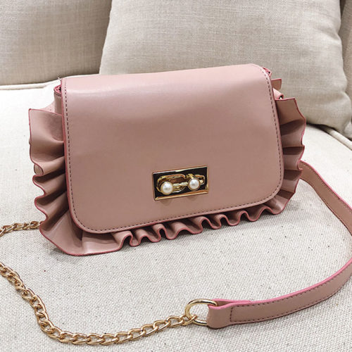 UN19108 pink 500x500 - Small MOQ burgundy PU leather girls ruffle crossbody bag