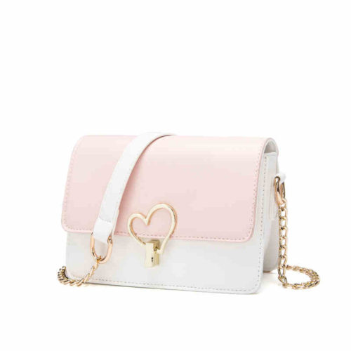 UN19109 500x500 - Lovely girls style pink PU leather chain crossbody bag