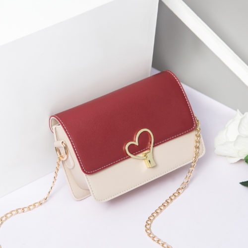 UN19109 burgundy 500x500 - Lovely girls style pink PU leather chain crossbody bag