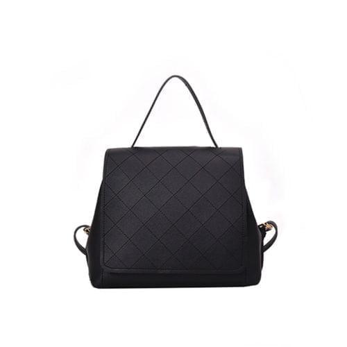 Simple cute design black PVC leather girls backpacks