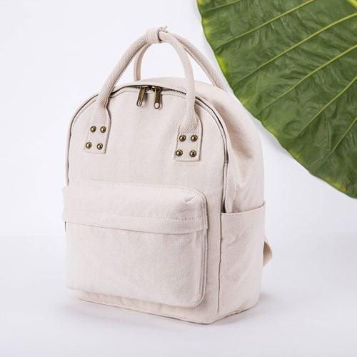 Useful style beige canvas big capacity girly backpack