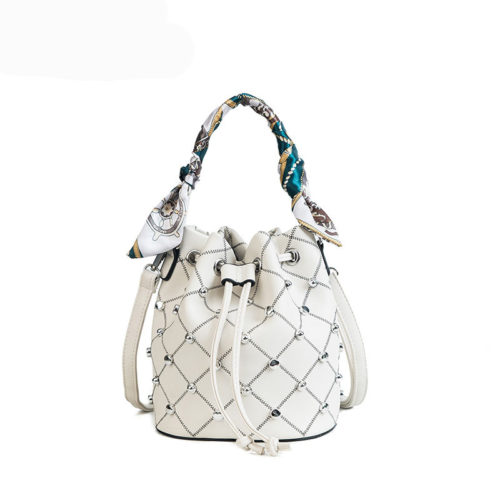 Factory supply white PU leather beaded bucket handbag