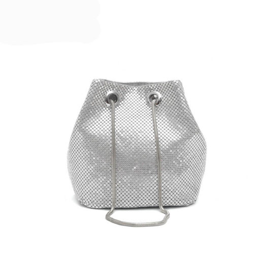 Cute design silver metallic surface girls crossbody handbags