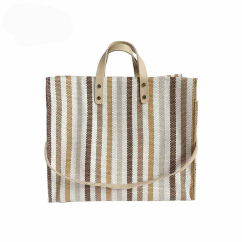 Simple style large stripe canvas tote bags for ladies