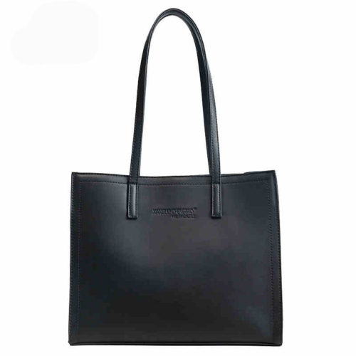 Trendy design black PU leather oversized tote bags