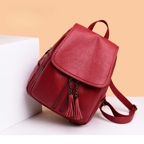 UN19140 red 500x500 - Personalized brand eco PU leather women backpacks