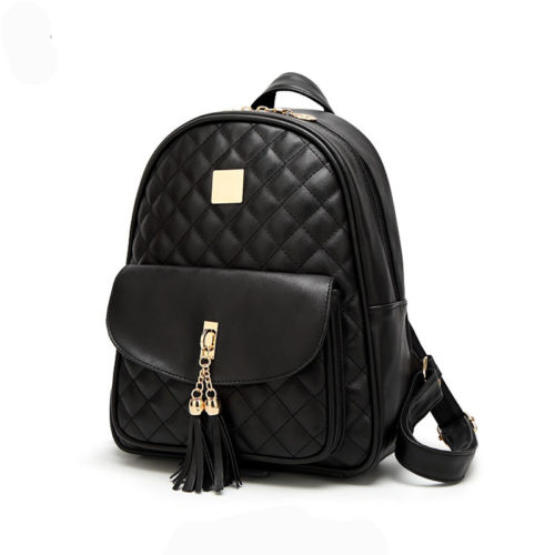 UN19146 500x500 - Excellent design PU leather black teen backpacks with tassel