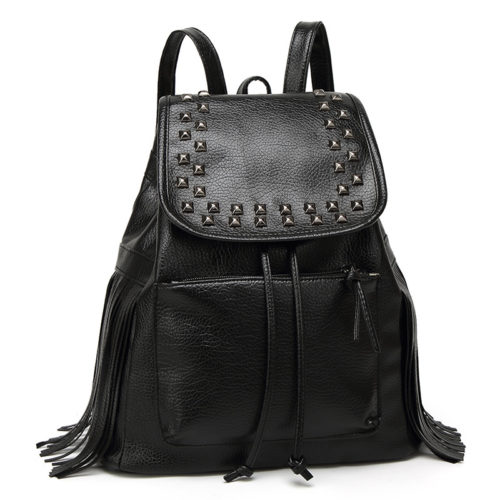 UN19148 500x500 - Cool style black washed PU leather backpacks for women