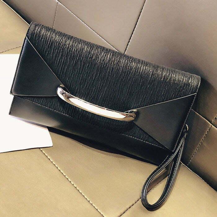 UN19153 BLACK 700x700 - Small MOQ PU leather ladies envelope clutch bag