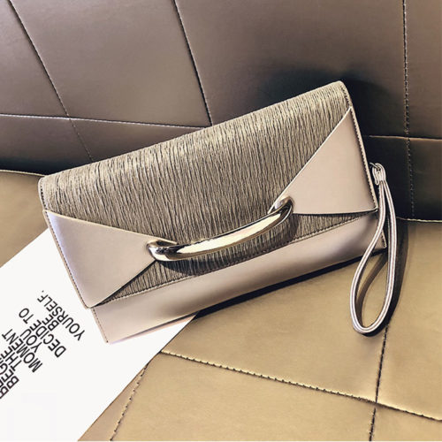 UN19153 Champagne 500x500 - Small MOQ PU leather ladies envelope clutch bag