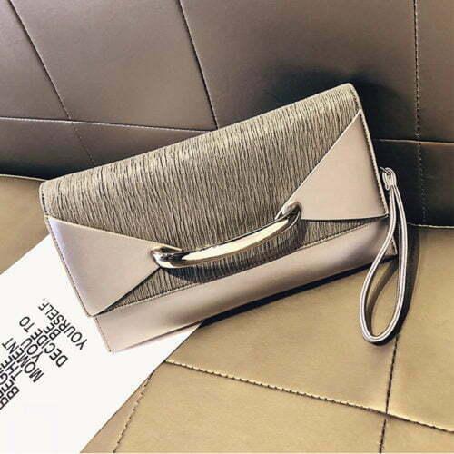 Small MOQ PU leather ladies envelope clutch bag