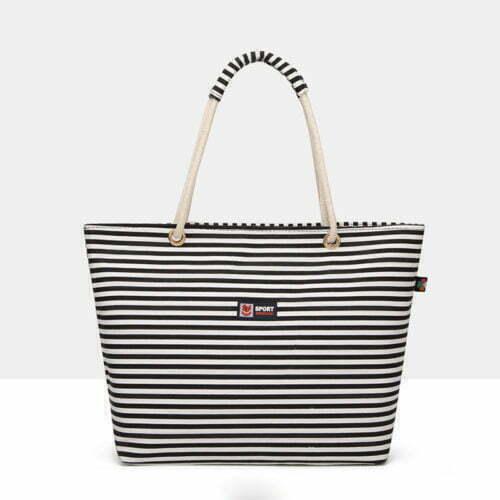 UN19154 BLACK 500x500 - Fashion brand designer stripe canvas tote bags