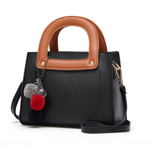 Contrast colors PVC leather ladies small tote bags