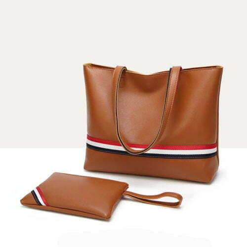 UN19161 500x500 - Simple design PVC leather women handbag with matching purse