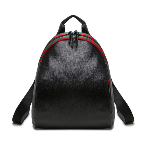 UN19162 500x500 - Free sample black PU leather college girls backpacks
