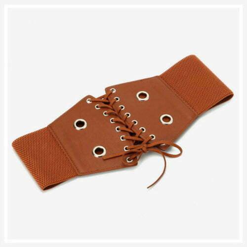 Custom made brand PU leather women belts with elastic
