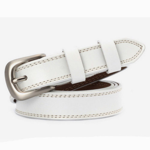 QYBD027 WHITE 500x500 - Guangzhou factory wholesale price ladies leather belts
