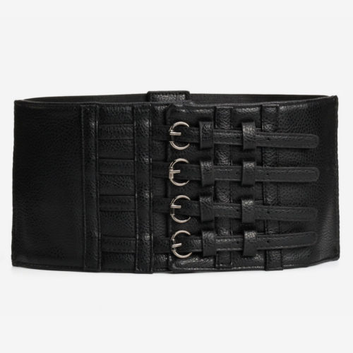 QYBD050 500x500 - New fashion elastic style all black designer belt for women