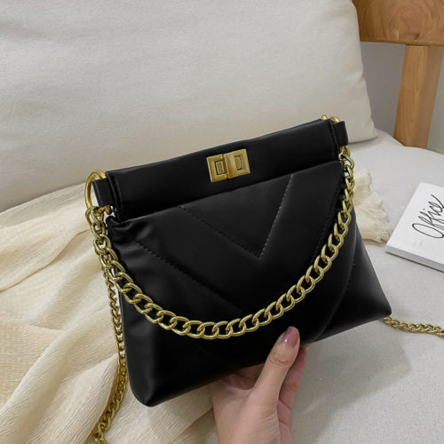 UN19165 BLACK 500x500 - 2020 embroidery PU leather metal chain small bags for ladies