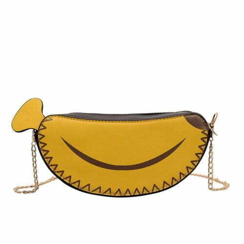 UN19166 500x500 - Newest banana shape yellow PU leather girls small crossbody bag