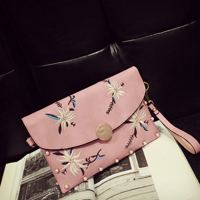UN19167 700x700 - Fashion embroidery pink leather small clutch bag for women