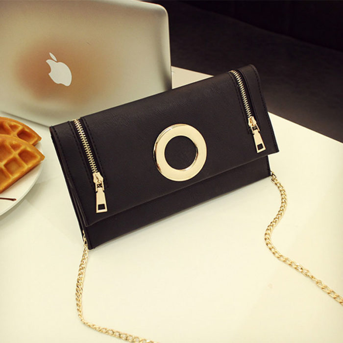 UN19169 BLACK 700x700 - Customized LOGO pink PU leather small clutch bags with strap
