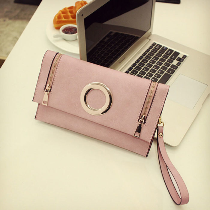 UN19169 PINK 700x700 - Customized LOGO pink PU leather small clutch bags with strap