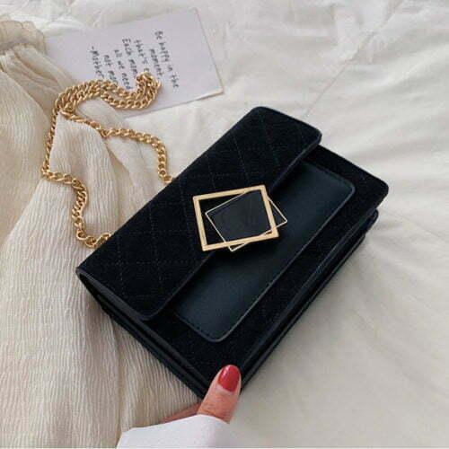 UN19171 BLACK 500x500 - Winter design velvet leather women small cross over bag
