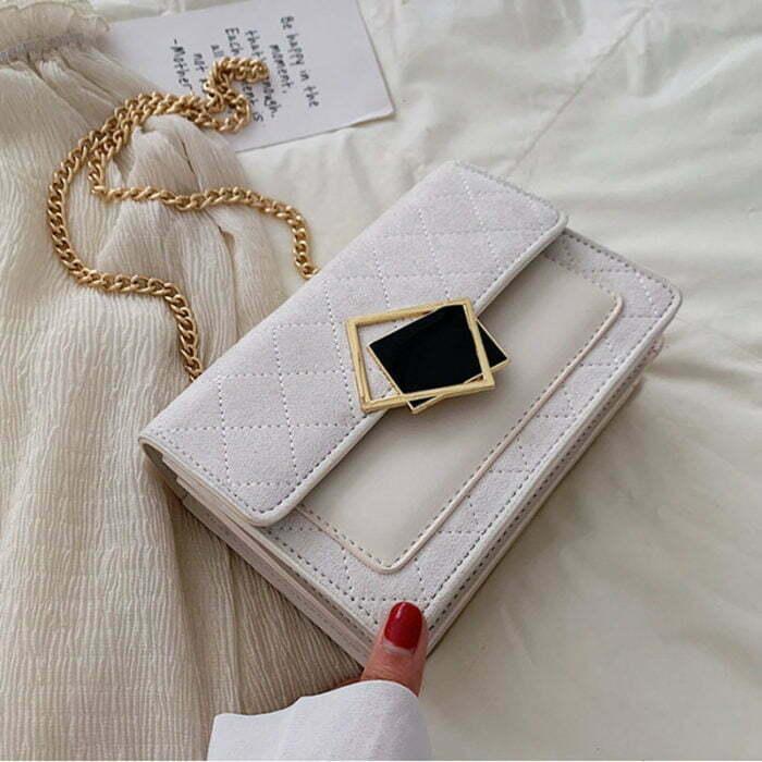 UN19171 WHITE 700x700 - Winter design velvet leather women small cross over bag