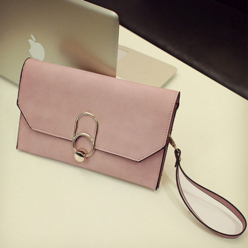UN19173 500x500 - Guangzhou factory human leather small pink clutch bag