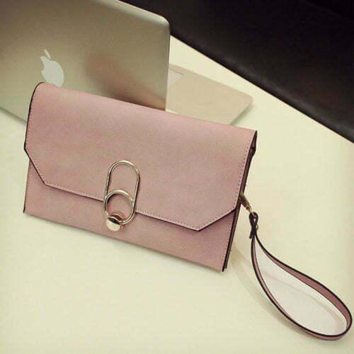 Guangzhou factory human leather small pink clutch bag