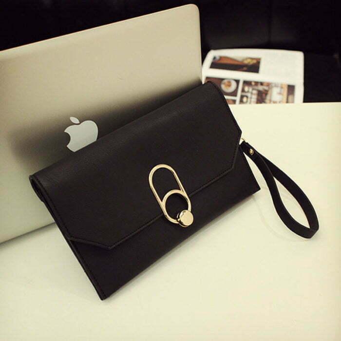 UN19173 BLACK 700x700 - Guangzhou factory human leather small pink clutch bag