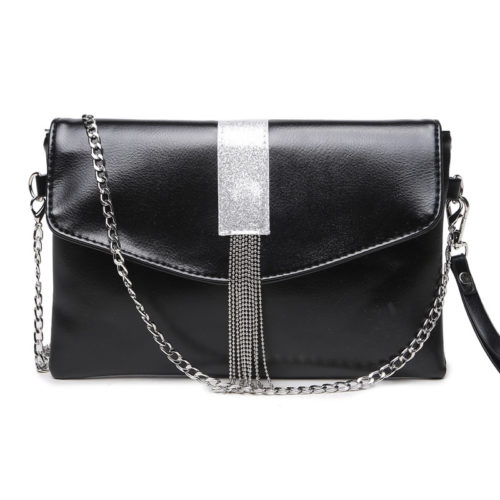Best selling artificial leather women black clutch bags