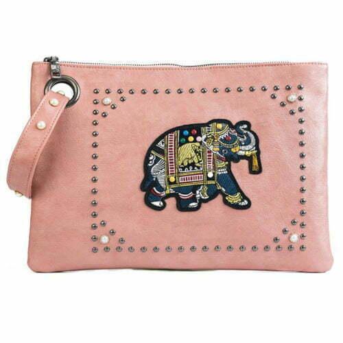 Hotest big brand PU leather ladies black clutch purse