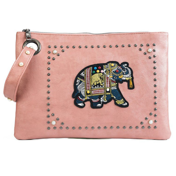 UN19175 PINK 700x700 - Hotest big brand PU leather ladies black clutch purse