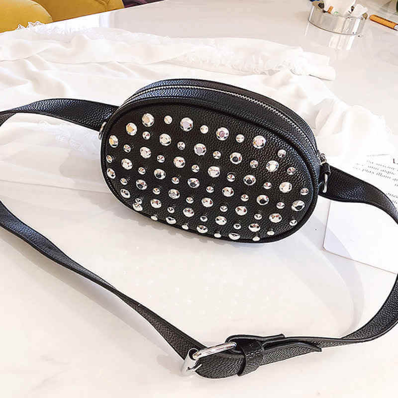 fashion women waist bag, diamond bag made by Uncle Nine Leather Factory
