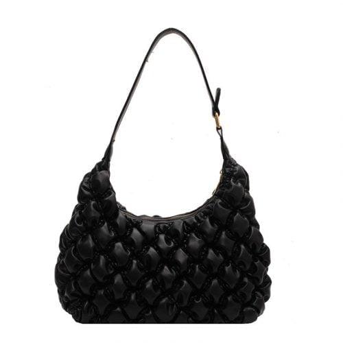 2021 Winter Style PU Leather Black Shoulder Bag