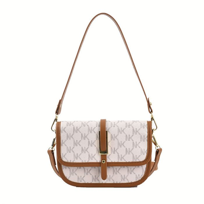 Printed Words Women Cross Body Saddle Bag White Color